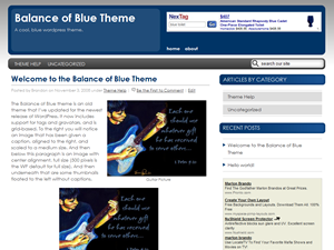 free brand new balance of blue business wordpress theme