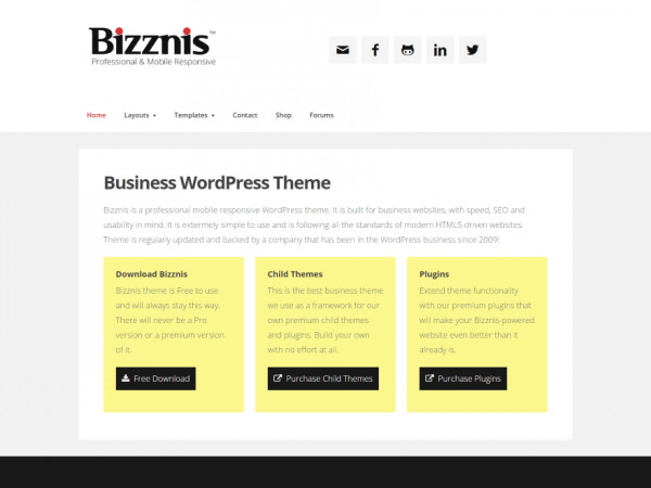 free bizznis business wordpress theme