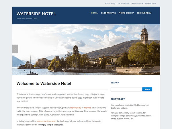 free waterside business wordpress theme