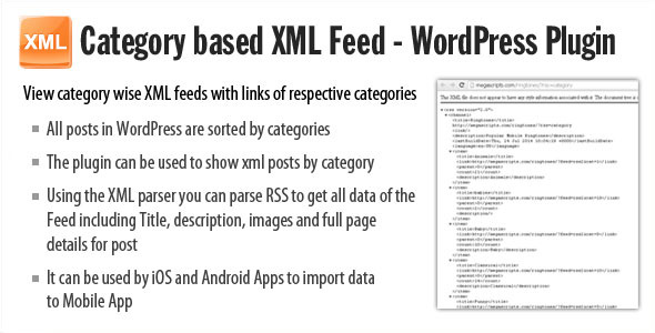category based xml feed  plugin screenshot