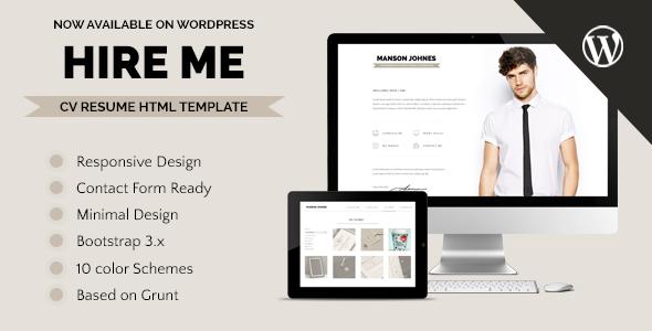 hireme responsive resume wordpress theme