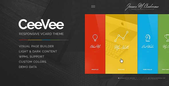 ceevee cv that is responsive wordpress theme