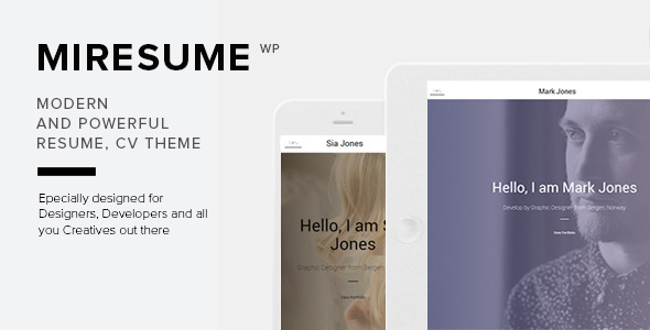 miresume resume, cv, profile wordpress theme