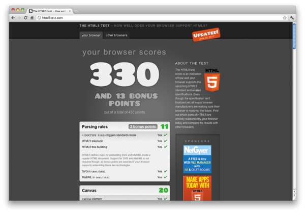 html5 test screenshot