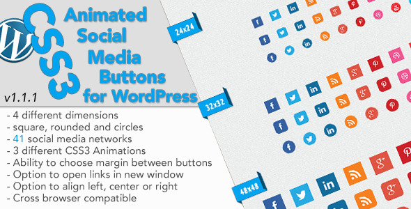 css3 animated social buttons wordpress widget