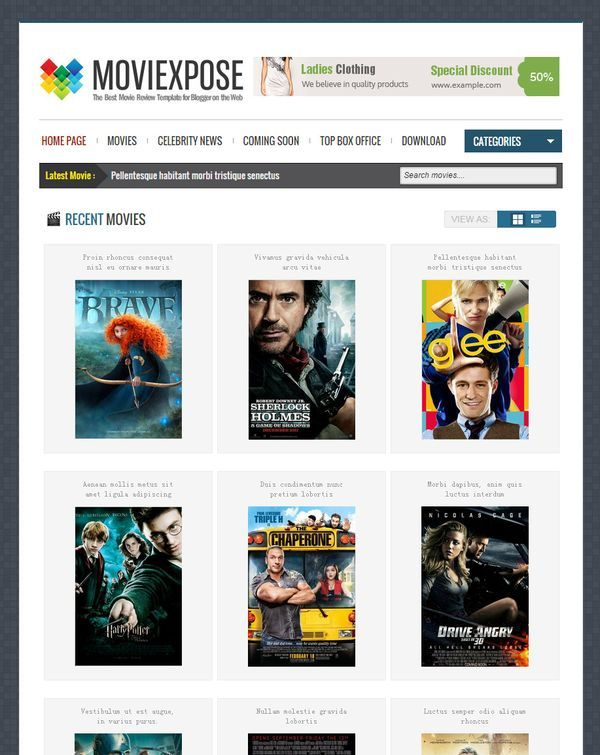 moviexpose magazine blogger template