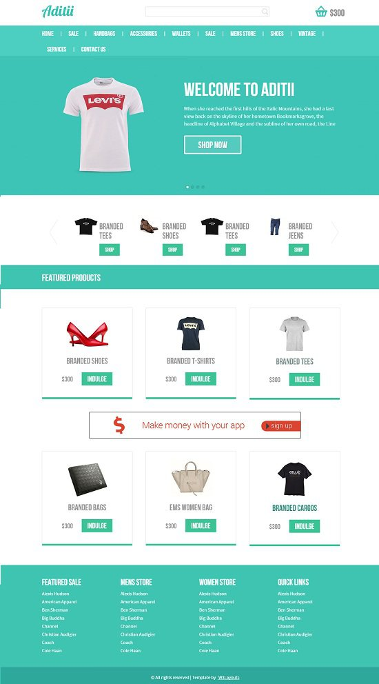 aditii an ecommerce that is flat internet template screenshot