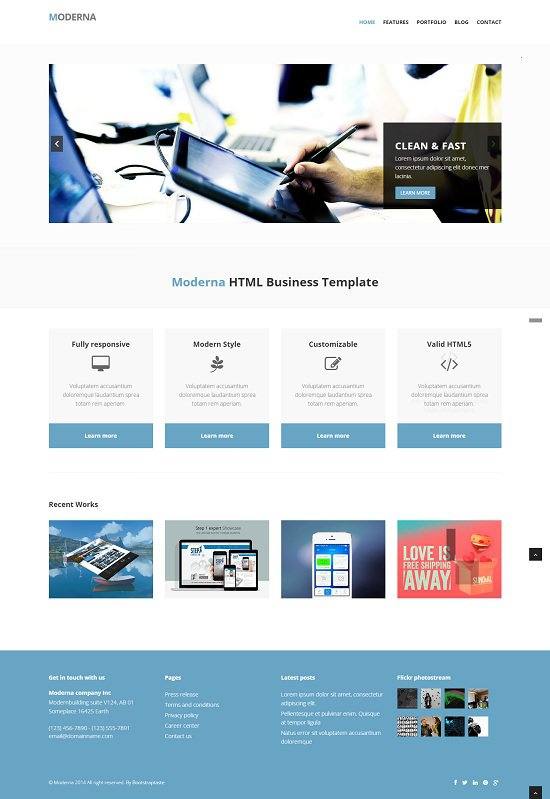 moderna free bootstrap template for business screenshot