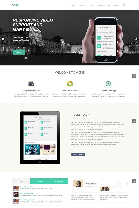 acme free corporate responsive screenshot that is template width=