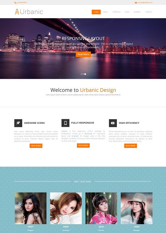 urbanic website template screenshot