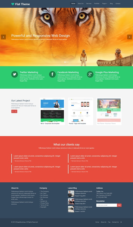 flat theme free responsive multipurpose web site template screenshot