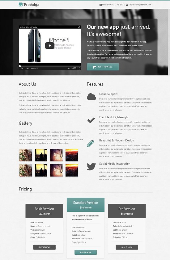 free produkta that is template responsive bootstrap product showcase screenshot