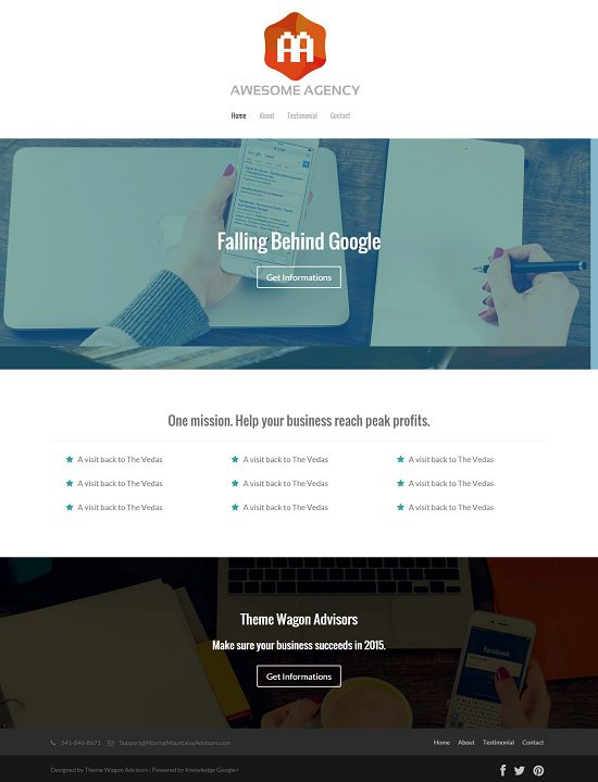 free html5 agency website screenshot that is template width=