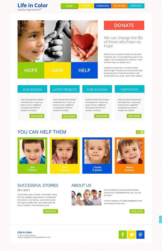free responsive website theme for charity website