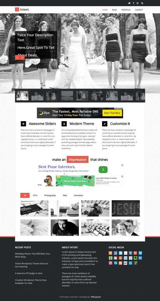 intent flat responsive wedding web template screenshot