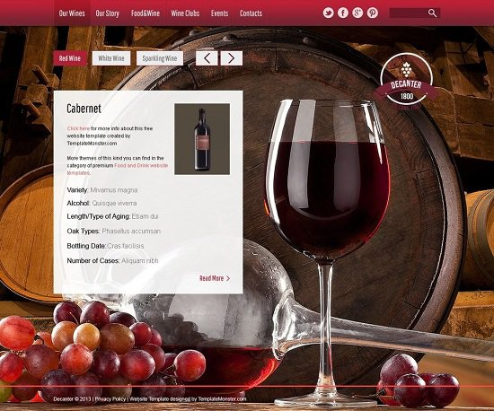 wine & winery free website theme screenshot