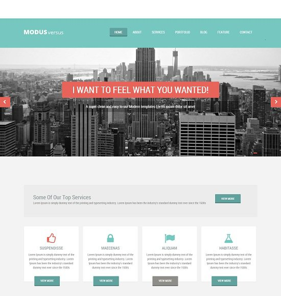 modus versus a multipurpose bootstrap that is flat internet template screenshot
