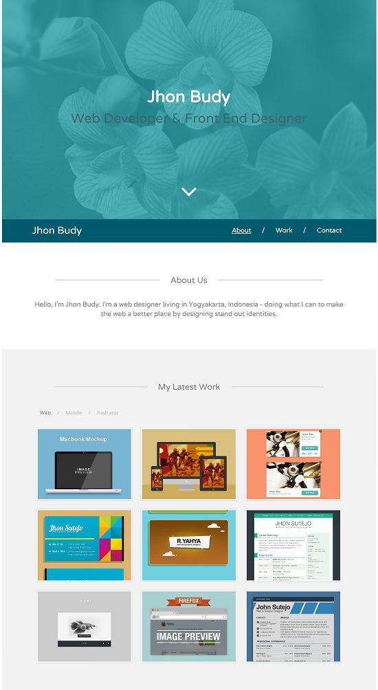 gaban single page personal portfolio template (html/css) free! screenshot