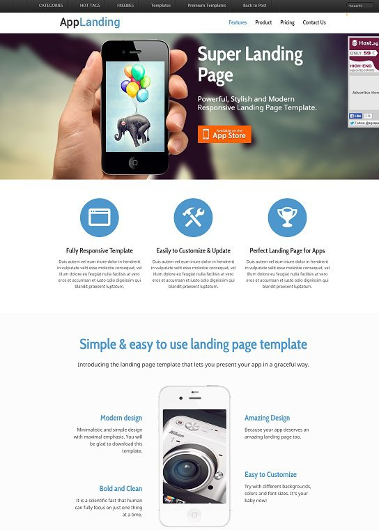 retina ready app that is responsive page website template screenshot