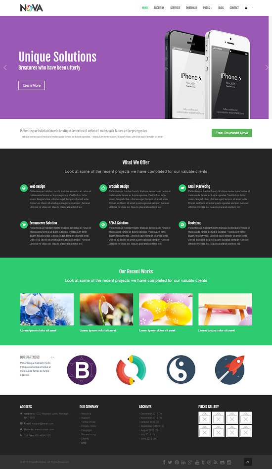 nova multipurpose site screenshot that is template width=