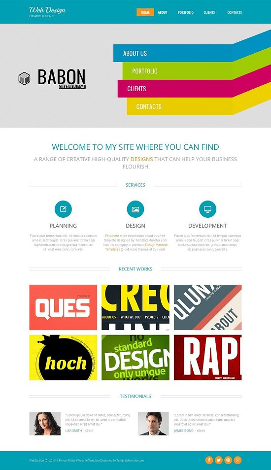 design studio free website theme
