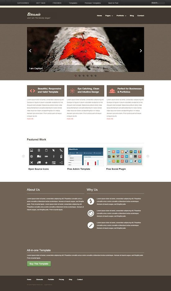 brownie free responsive website portfolio / business screenshot