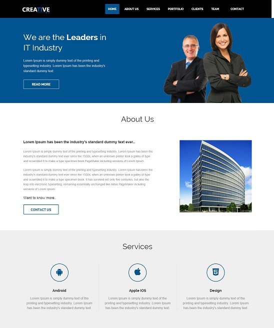 creative free website that is responsive template screenshot