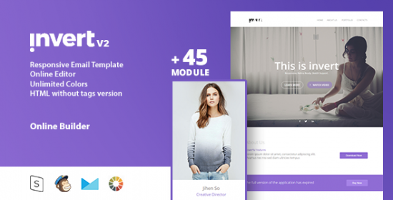 invert responsive email template online editor