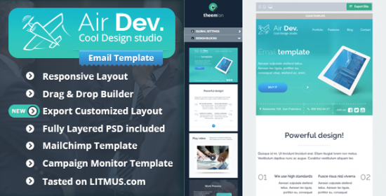 airdev corporate email template builder access