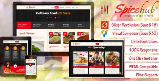 spicehub restaurant cafe bar wordpress theme