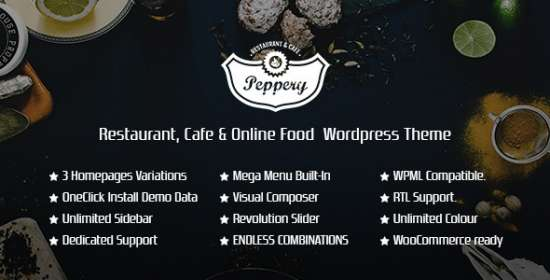 peppery restaurantcafefood online wp theme