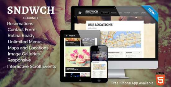 sndwch restaurant wordpress theme