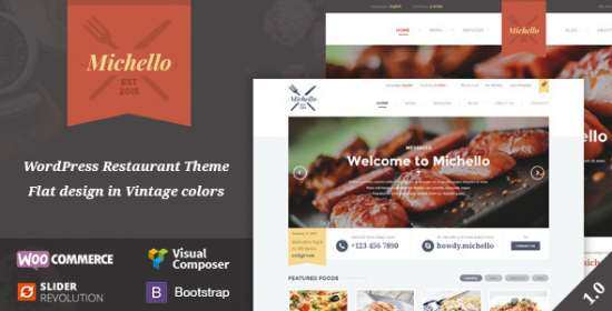 michello wordpress restaurant theme woocommerce