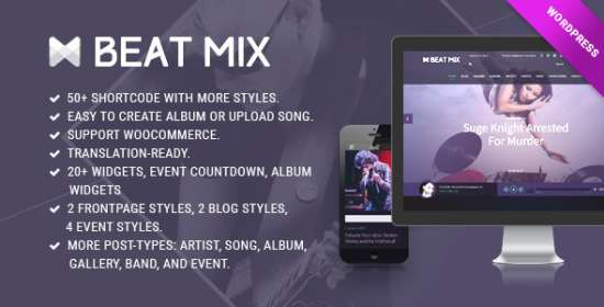 beatmix band and music wordpress theme