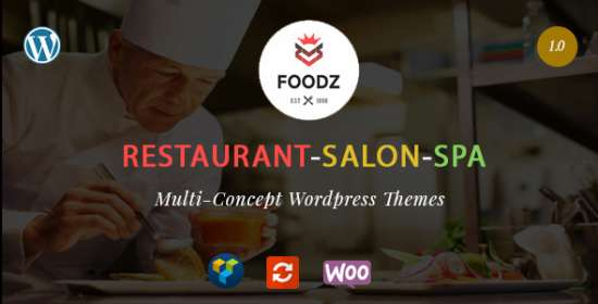 foodz restaurant spa beauty salon wordpress theme