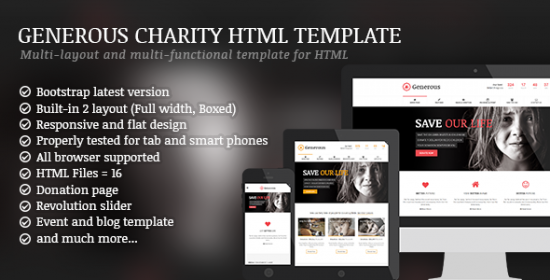 generous charity html template