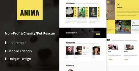 anima pet that is responsive and shelter template