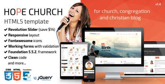 hope church responsive html5 template
