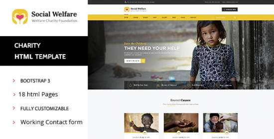 social welfare charity nonprofit html template