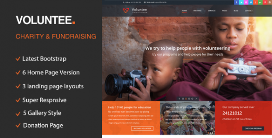 volunteer responsive html template for charity investment raising