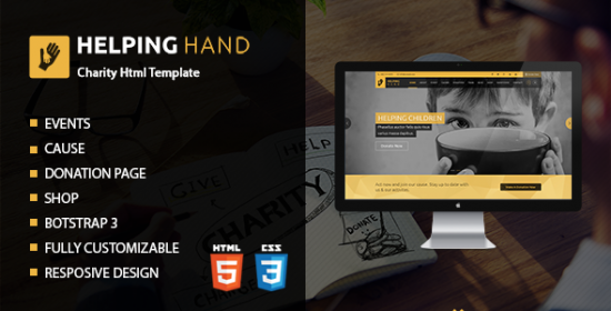 helping hand charity contribution html template