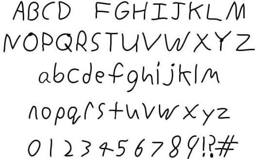 inconsistent print handwritten fonts