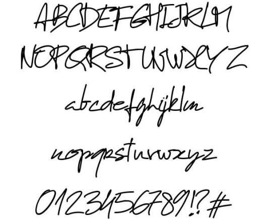 pw manuel free handwritten fonts