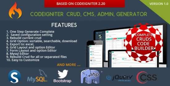 codeigniter cms crud builder administrator