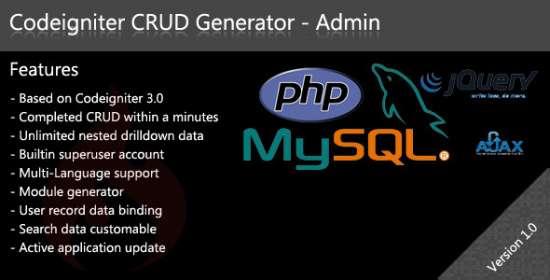 codeigniter crud generator admin