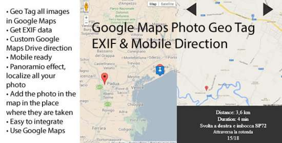 google maps picture geo tag exif mobile direction