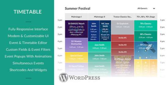 responsive timetable for wordpress