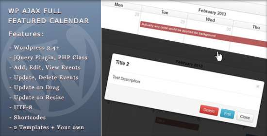 wp ajax complete featured calendar
