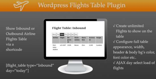wp airport routes table