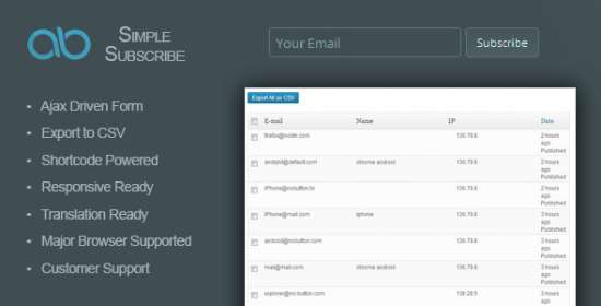 ab easy subscribe wordpress plugin